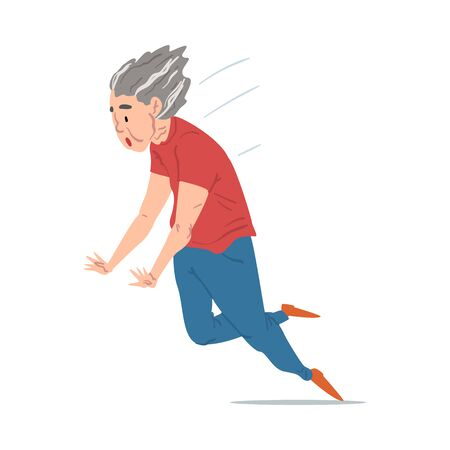 Elderly Woman Falling Down, Retired Female Person Falling Ahead, Accident, Pain and Injury Cartoon Style Vector Illustration on White Background