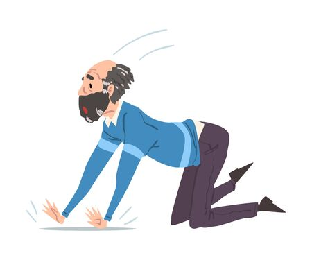 Elderly Man Fell Down on the Floor, Retired Person Falling on His Knees, Accident, Pain or Injury Cartoon Style Vector Illustration on White Background