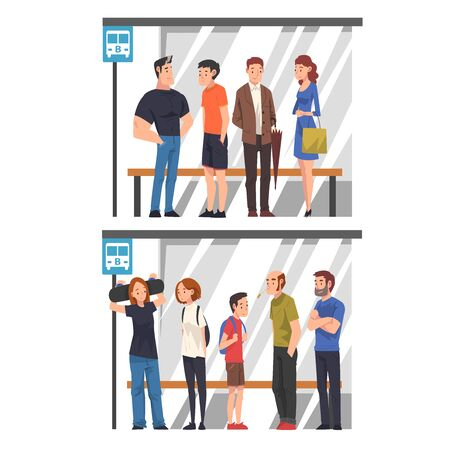 Group of Diverse People Waiting for Public Transport at Bus Stop Set, Passengers Spending Time in Expectation Cartoon Vector Illustration Иллюстрация