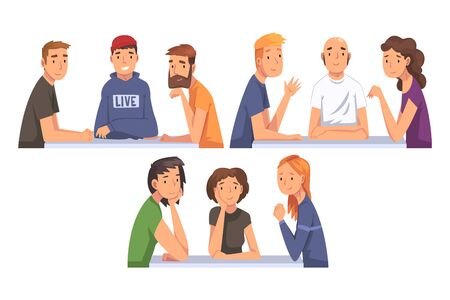 People Sitting and Looking at Us Set, Meeting of Friends Cartoon Vector Illustration