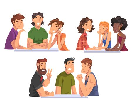 Cheerful People Sitting and Looking at Us Set, Meeting of Friends Cartoon Vector Illustration