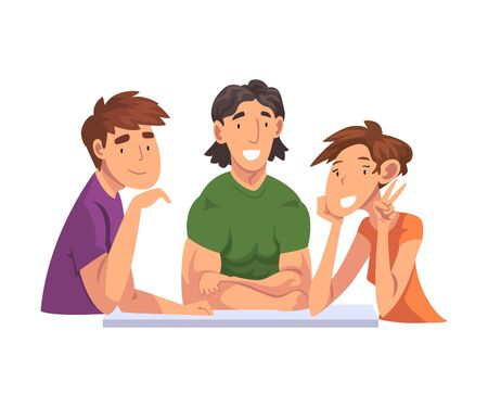 Cheerful People Sitting, Communicating and Looking at Us Set, Meeting of Friends Cartoon Vector Illustration