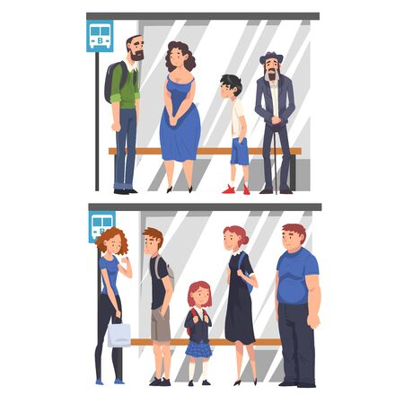 Group of Passengers Waiting for Public Transportation Set, People Spending Time in Expectation Cartoon Vector Illustration