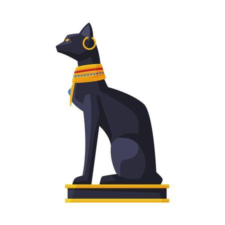 Bastet Ancient Egyptian Goddess, Black Egyptian Cat, Symbol of Egypt Flat Style Vector Illustration on White Background