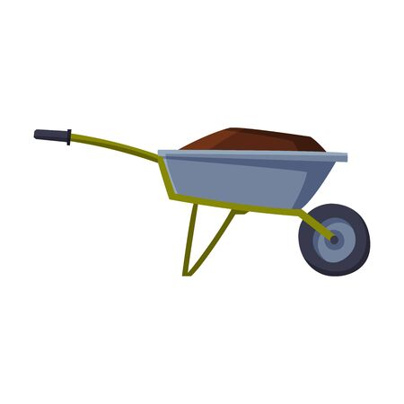 Garden Wheelbarrow Full of Soil or Compost, Agriculture Work Equipment Flat Style Vector Illustration on White Background Иллюстрация