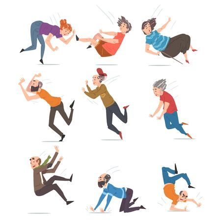 Elderly Man and Woman Falling Down Set, Accident, Pain and Injury Cartoon Style Vector Illustration on White Background