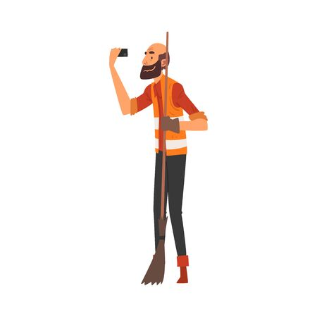 Male Janitor with Broom Taking Selfie Photo, Male Character Photographing Himself with Smartphone at Work Cartoon Vector Illustration