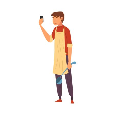 Male Cook Wearing Apron Standing with Ladle Taking Selfie Photo, Male Character Photographing Himself with Smartphone at Work Cartoon Vector Illustration