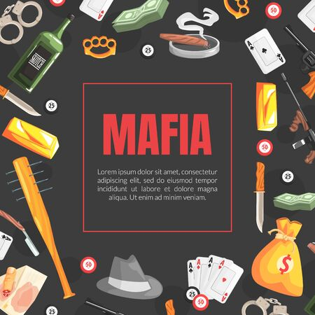 Mafia Banner Template with Space for Text and Gangsters Vintage Objects, Invitation Card, Poster, Banner, Background Vector Illustration Vektorové ilustrace