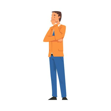 Thoughtful Businessman Character, Office Worker Employee Cartoon Vector Illustration