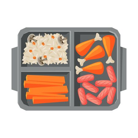 Meal Tray Filled with Chicken Drumsticks, Sausages and Rice, Food For Kids And Students, View from Above Flat Vector Illustration