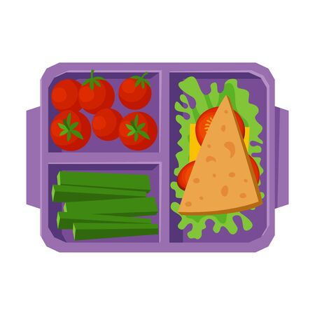 Meal Tray Filled with Sandwich, Tomatoes and Cucumbers, Healthy Food For Kids And Students, View from Above Flat Vector Illustration Vektorgrafik