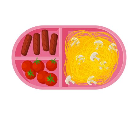 Meal Tray Filled with Pasta, Sausages and Tomatoes, Healthy Food For Kids And Students, View from Above Flat Vector Illustration