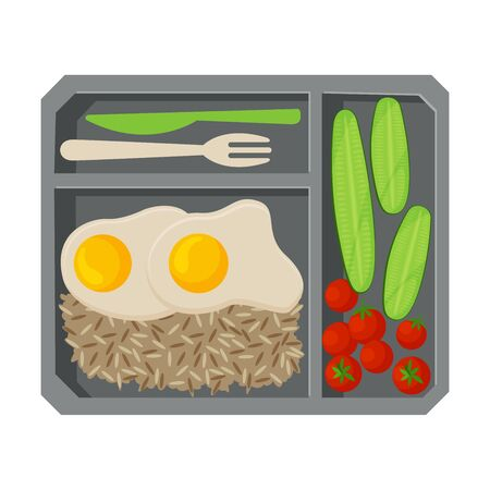 Meal Tray Filled with Fried Egg, Rice and Vegetables, Healthy Food For Kids And Students, View from Above Flat Vector Illustration