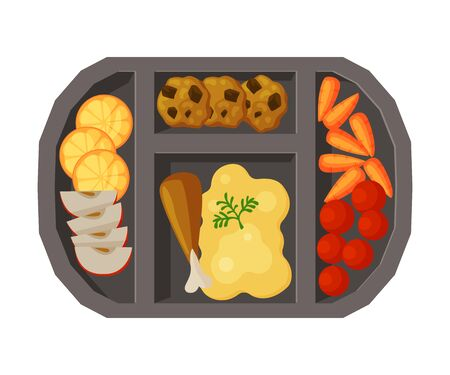 Meal Tray Filled with Mashed Potato, Chicken Drumstick and Vegetables, Healthy Food For Kids And Students, View from Above Flat Vector Illustration
