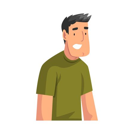Smiling Young Man Sitting and Looking at Us Cartoon Vector Illustration