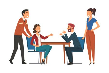 Business Negotiations, Business Partners Meeting, Exchanging Information, Solving Problems, Productive Partnership Cartoon Vector Illustration