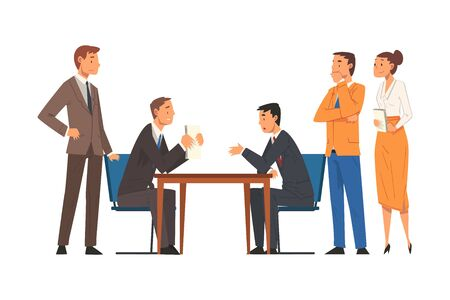 Business Negotiations, Busines Partners Sitting at Table and Discussing Work Strategy, Exchanging Information Cartoon Vector Illustration