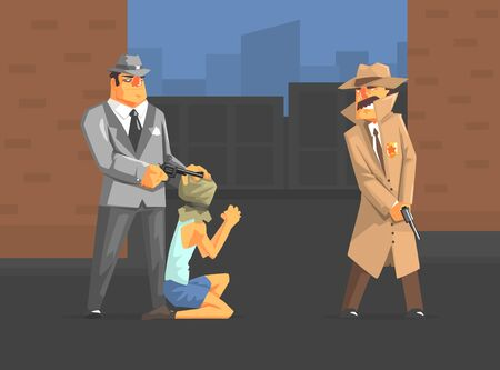 Mafia Member Threatening Hostage, Mafiosi and Detective Characters Dressed in Retro Clothes Vector Illustration Иллюстрация