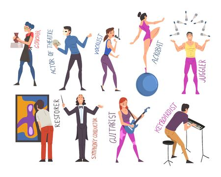 People of Creative Professions Set, Ceramist, Actor, Vocalist, Acrobat, Juggler, Restorer, Symphony Conductor, Guitarist, Keyboardist Cartoon Style Vector Illustration