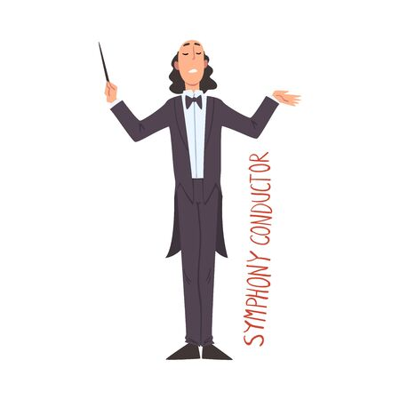 Music Orchestra Symphony Conductor, Creative Hobby or Profession Cartoon Style Vector Illustration Isolated on White Background.