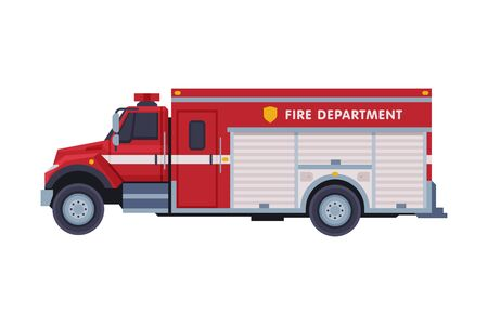 Red Engine Fire Truck, Emergency Service Firefighting Vehicle Flat Style Vector Illustration on White Background