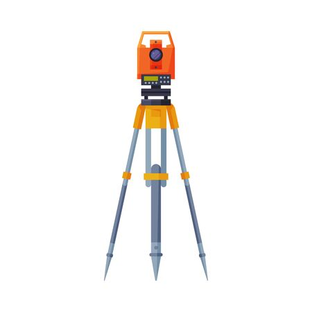 Tacheometer,Theodolite on Tripod, Geological Survey, Engineering Equipment for Measurement and Research Flat Style Vector Illustration