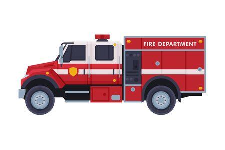 Camión de bomberos, servicio de emergencia, vehículo de extinción de incendios, estilo plano, ilustración vectorial sobre fondo blanco.