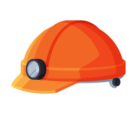 Orange Helmet with Lamp, Geology Research Protective Gear Flat Style Vector Illustration on White Background
