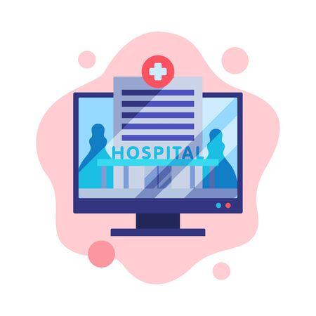 Consultation médicale en ligne, service de télémédecine, prescription médicale sur écran d'ordinateur Style plat Vector Illustration isolée sur fond blanc.