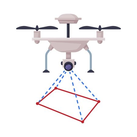 Drone Geodetic Survey Engineering Device Flat Style Vector Illustration on White Background