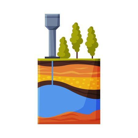Water Tower Supply System from Water Source Flat Style Vector Illustration on White Background
