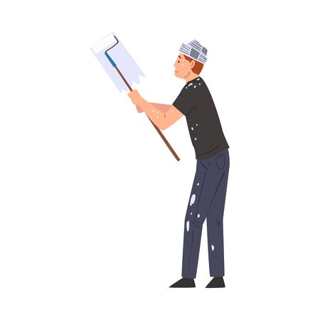 Painter Painting Wall with Roller, Home Renovation, Male Construction Worker Character in Paper Cap with Professional Equipment Vector Illustration on White Background