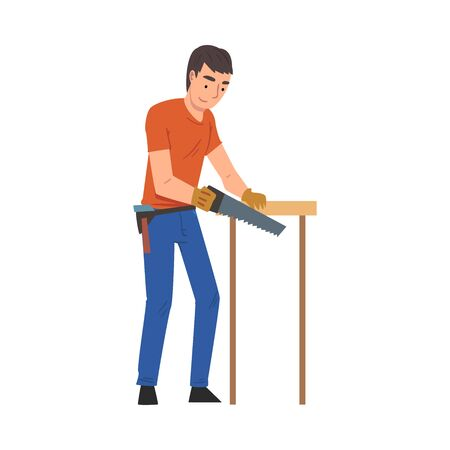 Man Cutting Wooden Plank Using Saw, Home Renovation, Male Construction Worker Character with Professional Equipment Vector Illustration Vector Illustratie
