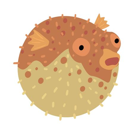 Puffer Fish, Marine Life Element, Sea or Ocean Creature Vector Illustration