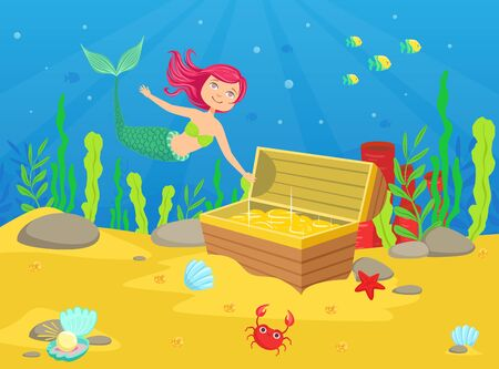 Marine Life with Cute Little Mermaid and Treasures in Chest at Bottom of Sea Vector Illustration