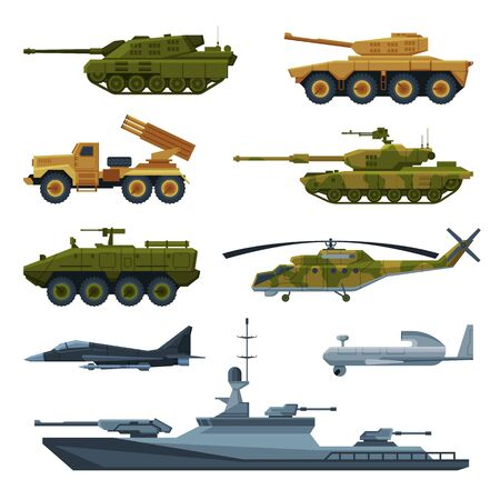 Armored Army Vehicles Collection, Military Heavy Special Transport, Tank, Aircraft Fighter, Rocket Launcher, Helicopter, Warship Flat Vector Illustration Ilustracje wektorowe