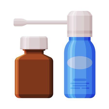 Medicine Bottles, Throat Aerosol Sprayer and Glass Bottle Flat Style Vector Illustration on White Background