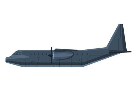 Modern Military Fighter Aircraft Jet, Special Aviation Transport Flat Vector Illustration Vektoros illusztráció