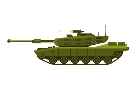 Military Tank, Heavy Special Machinery, Armored Fighting Vehicle, War Transport Flat Vector Illustration