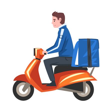Delivery Man Riding Scooter Motorcycle with Blue Parcel Box on the Back, Delivery Food Service, Fast Shipping Cartoon Vector Illustration Ilustración de vector