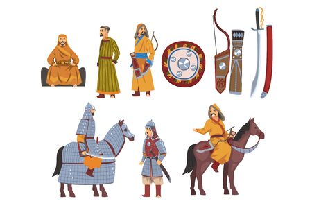 Mongol Nomad Warriors in Traditional Clothing with Weapon Collection, Central Asian Characters Vector Illustration Vektoros illusztráció