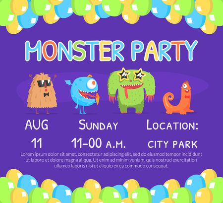 Monster Party Invitation Card Template with Cute Funny Monsters Characters, Birthday Party Banner, Poster Vector Illustration
