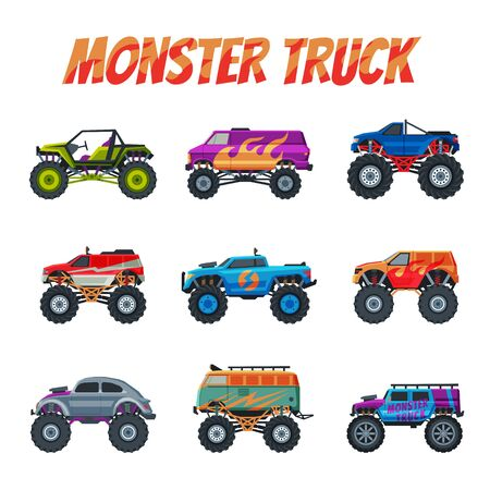Monster Trucks Vehicles Collection, Heavy Cars with Large Tires Vector Illustration
