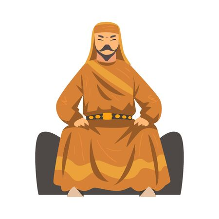 Mongol Khan, Central Asian Nomad Man Character in Traditional Clothing Vector Illustration Vectores