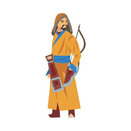 Mongol Warrior or Hunter, Central Asian Character in Traditional Clothing with Bow Vector Illustration