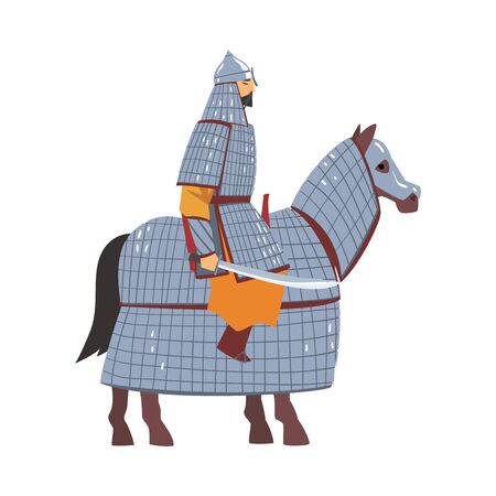 Mongol Nomad Warrior Riding Horse, Central Asian Character in Full Armour with Sword Vector Illustration on White Background.