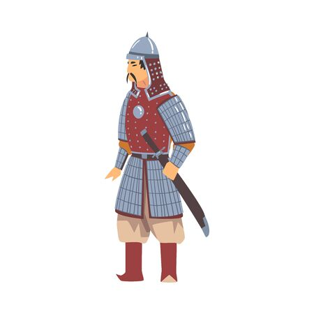 Mongol Nomad Warrior, Central Asian Character in Full Armour with Sword Vector Illustration on White Background. Ilustracja