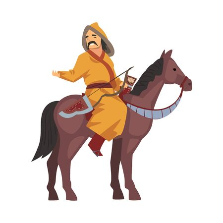 Mongol Nomad Warrior Riding Horse, Central Asian Character in Traditional Clothing Vector Illustration on White Background.
