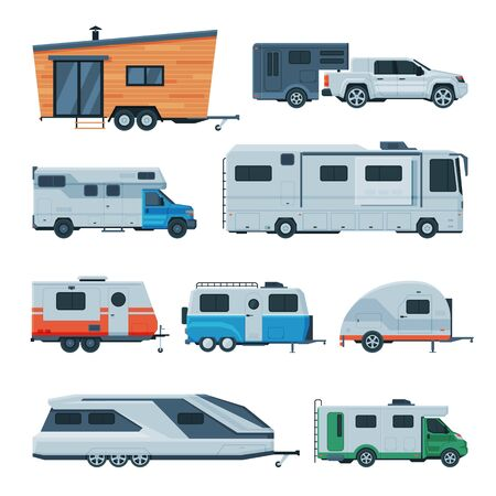 Travel Trailers Collection, Modern Mobile Homes for Summer Adventures, Family Tourism and Vacation Flat Vector Illustration